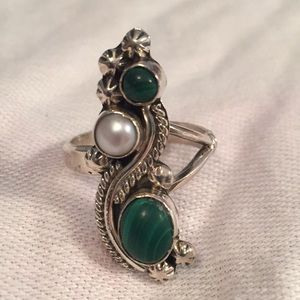 Sterling Silver Malachite Pearl Ring